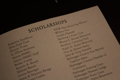 Endless Scholarships-- Listed in the program are all of the awards handed out during Scholarship Night. Many were major specific, while others were distributed based on class rank, moral character, and an essay that intrigued the donor.